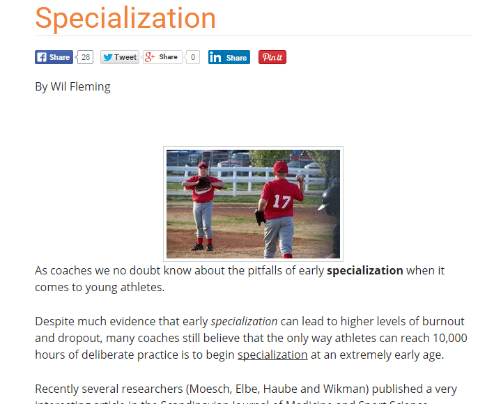 sports specialization essay Us women were multi-sport athletes before focusing on soccer - the headline really says it all, but this usa today article is a good bit of ammunition for those fighting the war against early sports specialization.