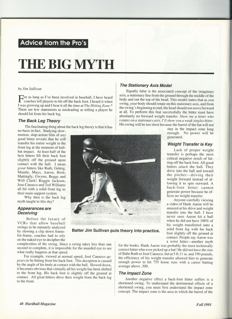 J.D. published post on hitting in 1991