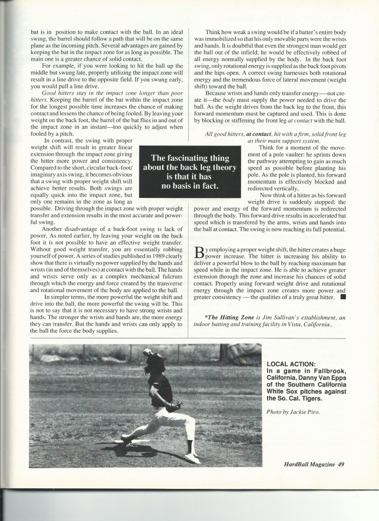 J.D. published hitting article in 1991