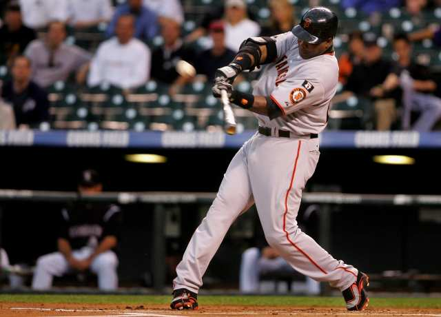 Barry Bonds of the San Francisco Giants launches his 762nd career home run off of Ubaldo Jimenez