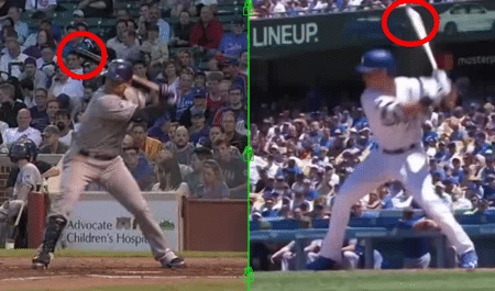 Carlos Gonzalez & Cody Bellinger Illustrating Flat versus Vertical Bat at Landing