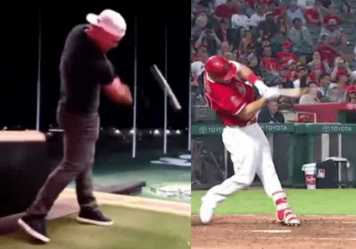 Mike Trout Hitting Golf Ball at Top Golf