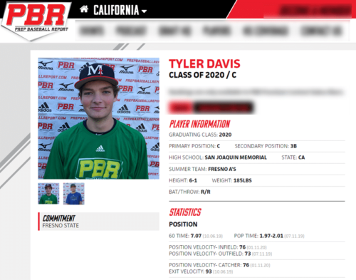 Baseball Showcase: PBR Tyler Davis