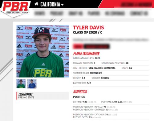 Baseball Showcase: PBR Tyler Davis
